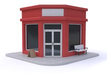 red shop-store cartoon style white background 3d render stock illustration