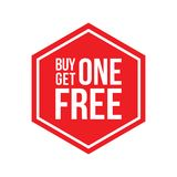Buy One Get One Free Sign Hexagon. Red Shop Vector Sign For A Buy One Get One Free Off Clearance Stock Image