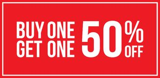 Buy One Get One 50% Off Sign Horizontal. Red Shop Vector Sign For A Buy One Get One 50% Off Clearance Horizontal Landscape Stock Photos