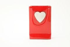 Red Shopping Bag. With silver heart on white background Stock Images