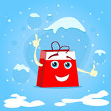 Red Shopping Bag Cartoon Character Show Point Stock Image