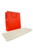 Red Shopping Bag and Computer Keyboard Stock Images