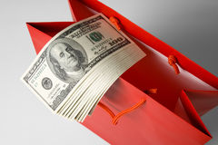 Red Shopping Bag and Dollar Royalty Free Stock Photo
