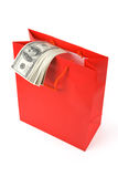Red Shopping Bag and Dollar Royalty Free Stock Photography