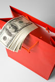 Red Shopping Bag and Dollar Stock Photography