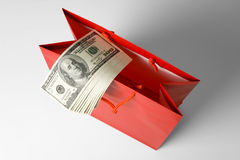 Red Shopping Bag and Dollar Stock Image