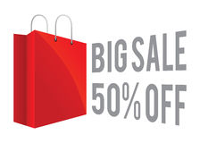 Red Shopping Bag icon With Big Sale Discount Sign Royalty Free Stock Images