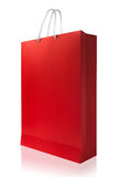 Red shopping bag, isolated with clipping path on white backgroun Stock Photography