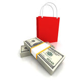Red shopping bag with money on white background Royalty Free Stock Images