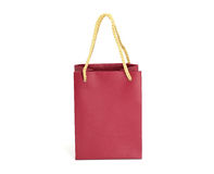 Red shopping bag. Red paper shopping bag on white background Royalty Free Stock Image