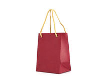 Red shopping bag. Red paper shopping bag on white background Stock Photography