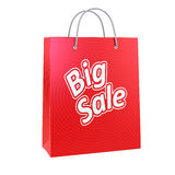 Red shopping bag print with Big sale text.  Stock Images