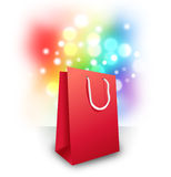 Red Shopping Bag with Sparkle Surprise Royalty Free Stock Photo