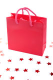 Red shopping bag and stars Stock Photography