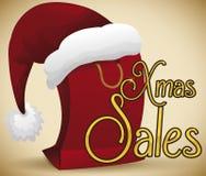 Shopping Bag Wearing a Santa`s Hat for Christmas Sales, Vector Illustration stock illustration