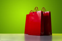 Red shopping bags. Royalty Free Stock Photos