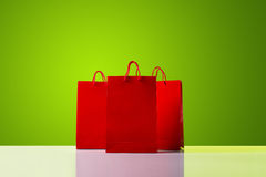 Red shopping bags. Stock Photo