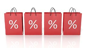 Red shopping bags with discount percentages Stock Photography