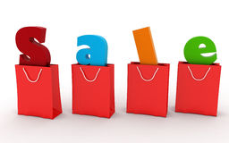 Red shopping bags with the inscription Sale inside Stock Images