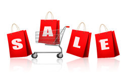 Red shopping bags with sale. Concept of discount. Royalty Free Stock Images