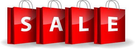 Red shopping bags with the word Sale. Vector illustration Stock Photo