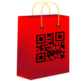 Red shopping bar with qr code Royalty Free Stock Photo