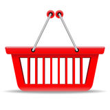 Red shopping basket. Empty red shopping basket icon isolated on white background Royalty Free Stock Photography