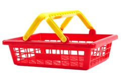 Red shopping basket Stock Images
