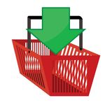 Red shopping basket with green arrow pointing in Stock Image