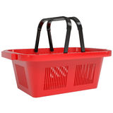 Red shopping basket. Isolated render on a white background Royalty Free Stock Images