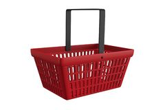 Red shopping basket. Red plastic shopping basket isolated on white background Royalty Free Stock Image