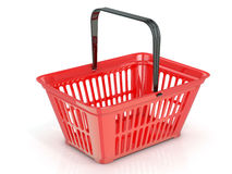 Red shopping basket, side view Stock Images