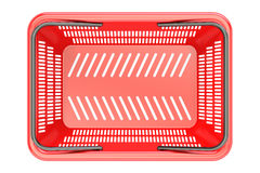 Red shopping basket top view, 3D rendering. On white background royalty free illustration
