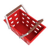 Red shopping basket upper view isolated Stock Photography