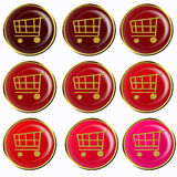 Red shopping cart buttons collection Stock Photo