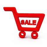 Red shopping cart, 3d Royalty Free Stock Images