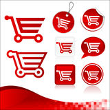 Red Shopping Cart Design Kit Stock Photography