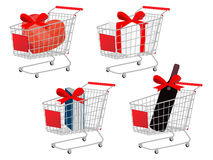 Red Shopping Cart Gifts With Bows Royalty Free Stock Photography