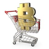 Red shopping cart with golden bitcoin currency sign 3D Stock Photo