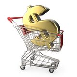 Red shopping cart with golden dollar currency sign 3D Stock Photos