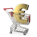 Red shopping cart with golden euro currency sign 3D Stock Images