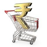 Red shopping cart with golden Indian rupee currency sign 3D Stock Photos