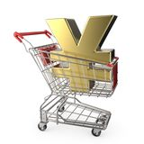 Red shopping cart with golden Japanese yen currency sign 3D Royalty Free Stock Photography