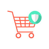 Red shopping cart with green shield icon Stock Photography