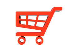 Red Shopping Cart Icon Stock Photo