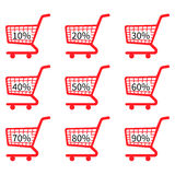Red Shopping Cart Icons Discount Stock Photos