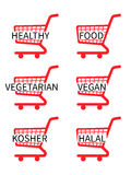Red Shopping Cart Icons Healthy Food Royalty Free Stock Image