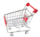 Red Shopping Cart Isolated On White. Stock Photo
