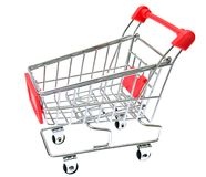Red Shopping Cart Isolated On White Royalty Free Stock Photography