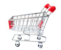 Red Shopping Cart Isolated On White Stock Image